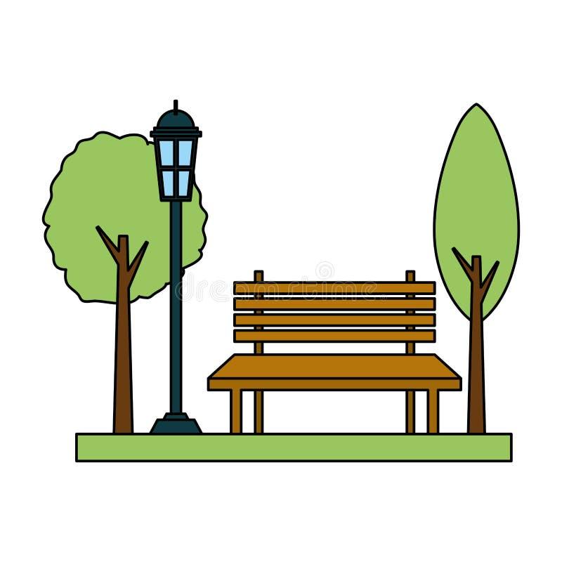 De lamppost van de parkbank royalty-vrije illustratie