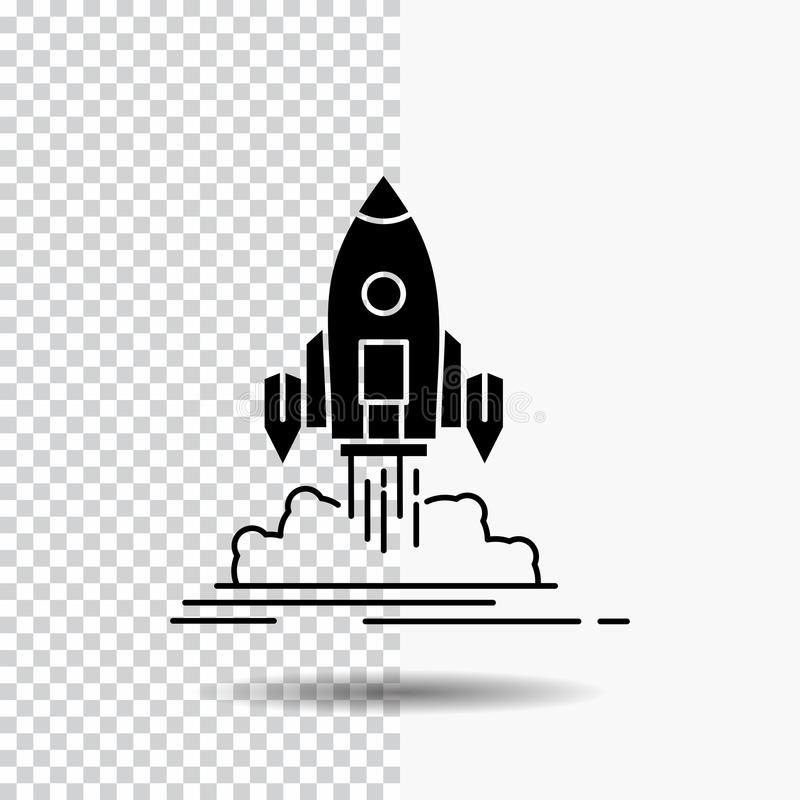 De lancering, opdracht, pendel, opstarten, publiceert Glyph-Pictogram op Transparante Achtergrond Zwart pictogram stock illustratie