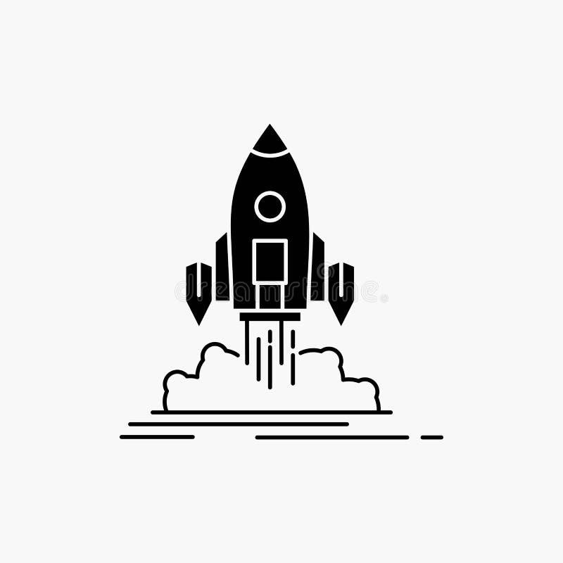De lancering, opdracht, pendel, opstarten, publiceert Glyph-Pictogram Vector ge?soleerde illustratie stock illustratie