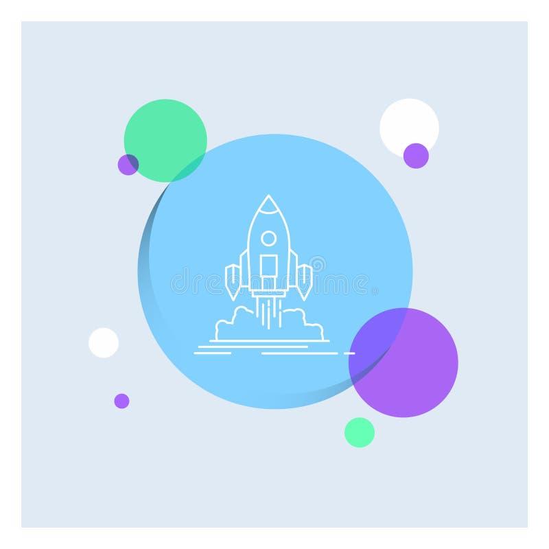De lancering, opdracht, pendel, opstarten, publiceert Witte kleurrijke de Cirkelachtergrond van het Lijnpictogram stock illustratie