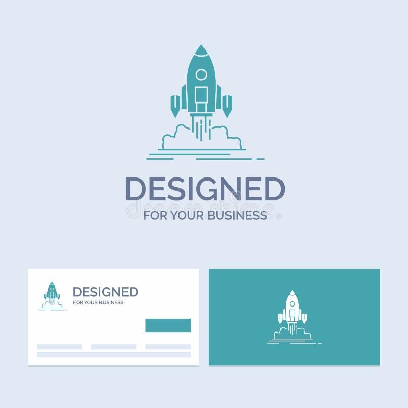 De lancering, opdracht, pendel, opstarten, publiceert Zaken Logo Glyph Icon Symbol voor uw zaken Turkooise Visitekaartjes met Mer stock illustratie