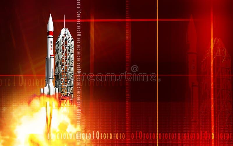 De lancering van de raket van platform stock illustratie