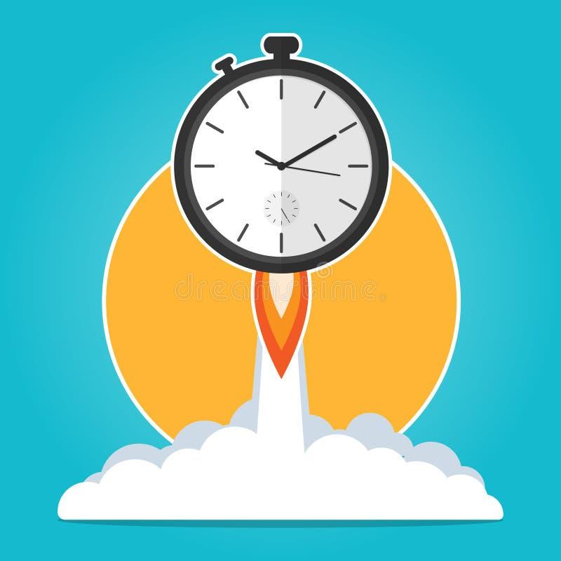 De lancering van de klokraket omhoog, tijd om tijd te werken loopt, de vlakke vector van het uiterste termijnconcept stock illustratie