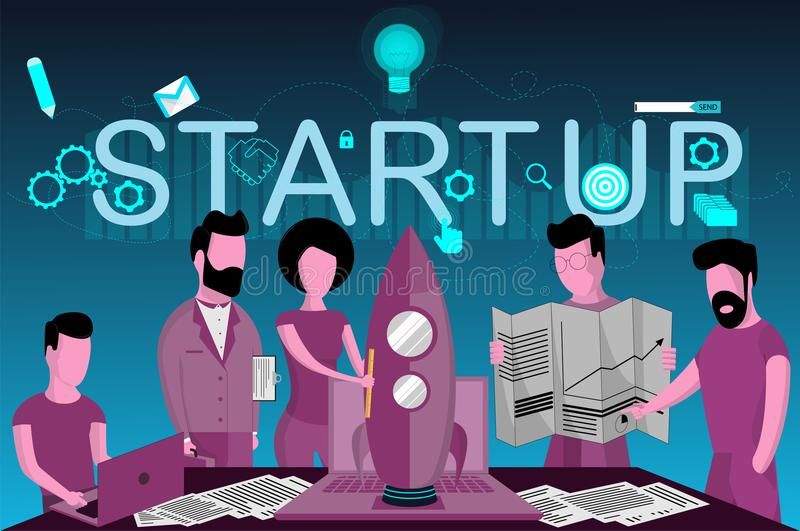 De lancering van nieuwe zaken, opstarten, groepswerk stock illustratie