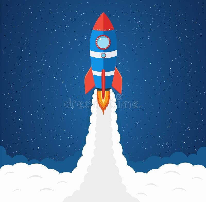 De lancering van raket in ruimte stock illustratie