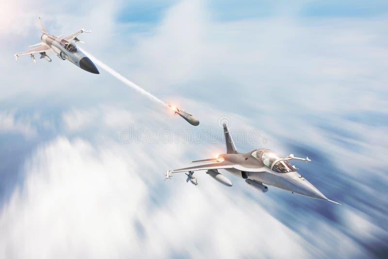 De lanceringenraketten van de gevechtsvechter bij een doel - een andere vechtersstraal Conflict, oorlog Ruimtevaartkrachten stock afbeeldingen