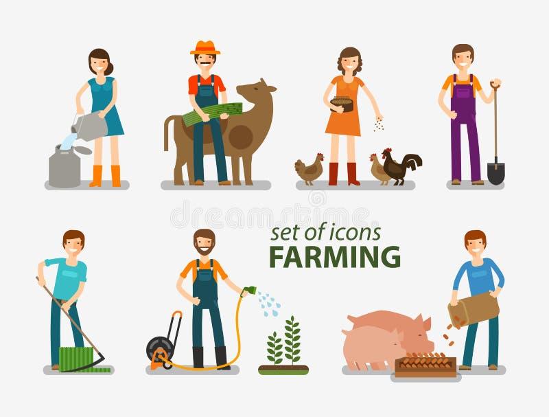 De landbouw en het veefokken reeks pictogrammen Mensen aan het werk aangaande het landbouwbedrijf Vector illustratie vector illustratie