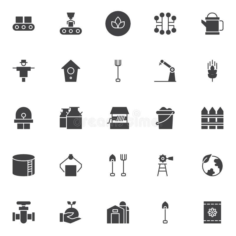 De landbouw en de industrie vector geplaatste pictogrammen stock illustratie