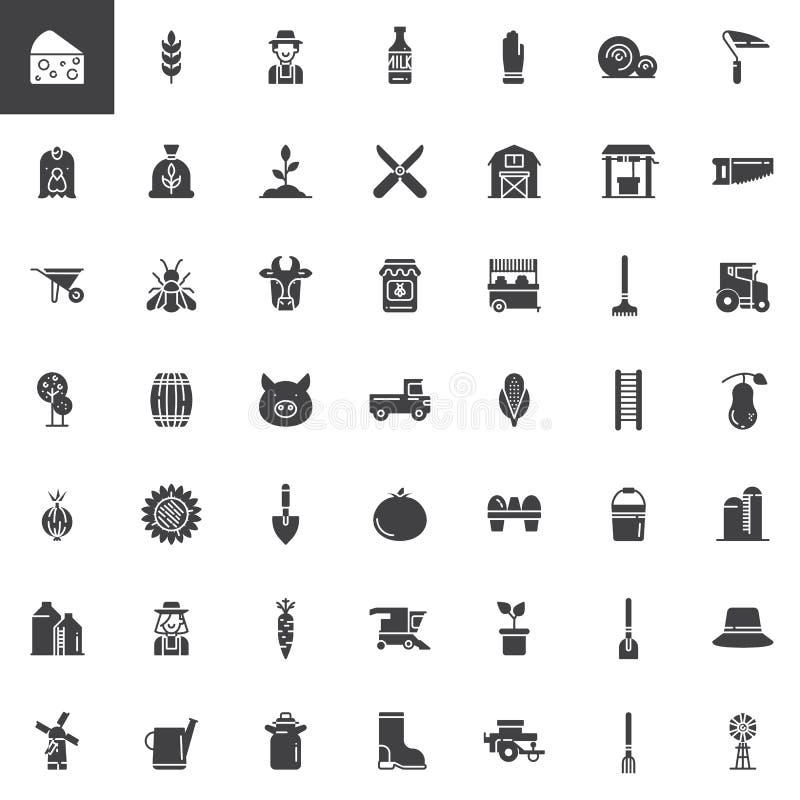De landbouw en landbouw vector geplaatste pictogrammen royalty-vrije illustratie