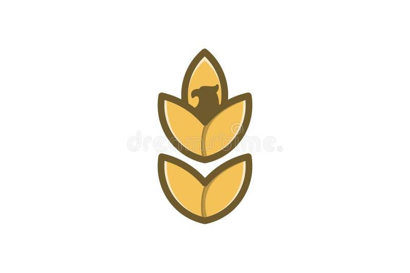de landbouw van de tarwekorrel en het ontwerpinspiratie van het adelaars hoofdembleem stock illustratie