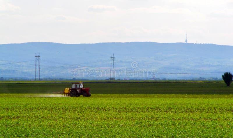 De landbouw van tractor die en op gebied ploegt bespuit royalty-vrije stock afbeelding