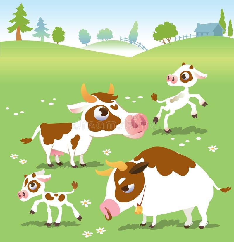 De landbouwbedrijfdieren in vector plaatsen: koeien royalty-vrije illustratie