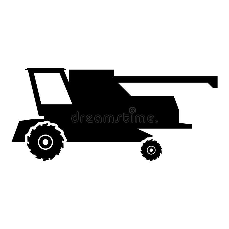 De landbouwbedrijfmaaimachine voor het werk aangaande gebied combineert illustratie van de pictogram de zwarte kleur royalty-vrije illustratie
