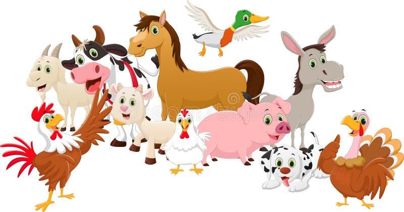 De landbouwbedrijven van de beeldverhaalfamilie op witte achtergrond stock illustratie