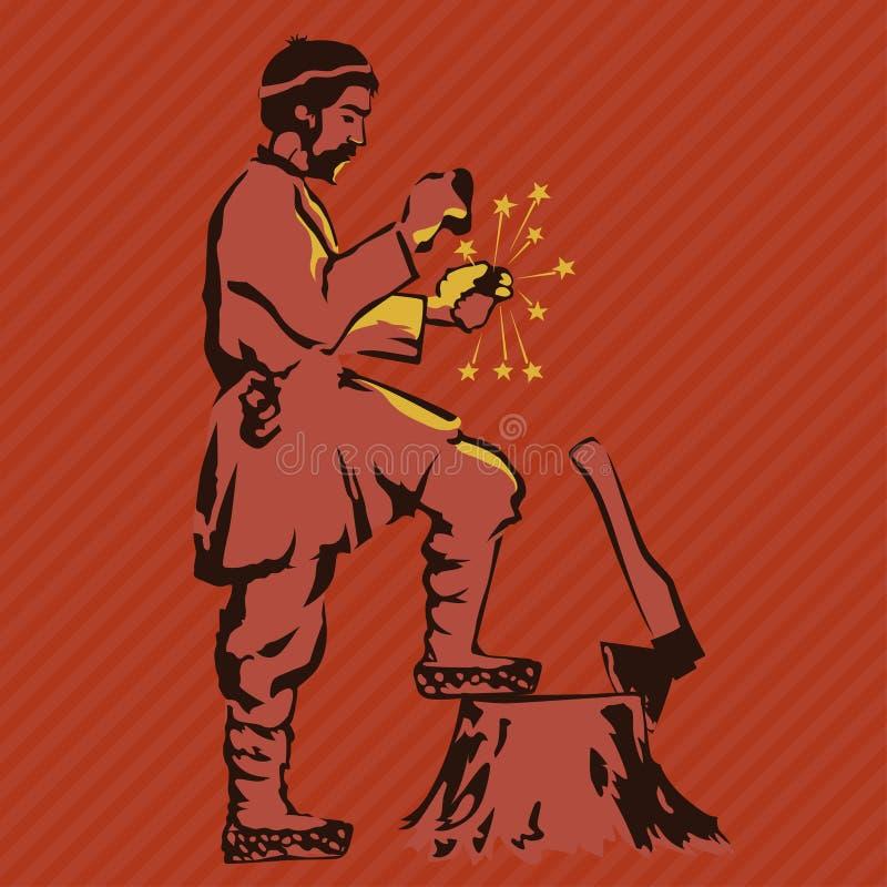 De landbouwer krijgt brand met vuursteen vector illustratie
