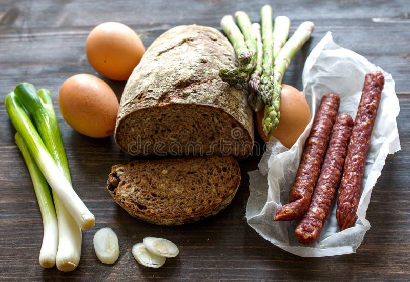 De landbouwers ontbijten ingrediënten royalty-vrije stock afbeeldingen