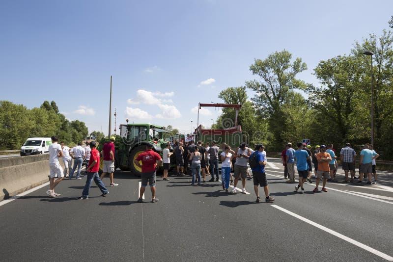 De landbouwers protesteren stock afbeeldingen