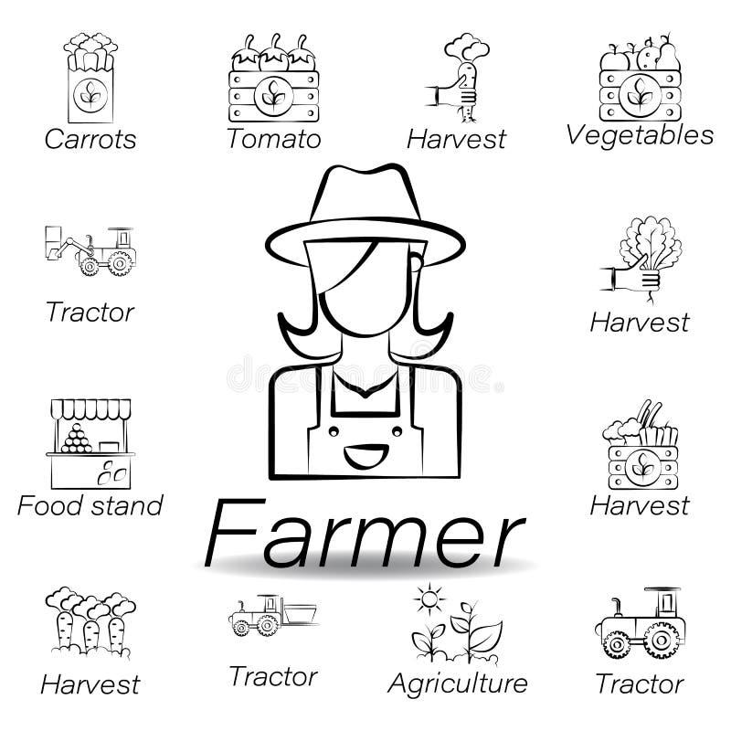 De landbouwershand trekt pictogram Element van de landbouw van illustratiepictogrammen De tekens en de symbolen kunnen voor Web,  royalty-vrije illustratie