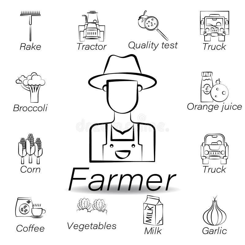 De landbouwershand trekt pictogram Element van de landbouw van illustratiepictogrammen De tekens en de symbolen kunnen voor Web,  vector illustratie