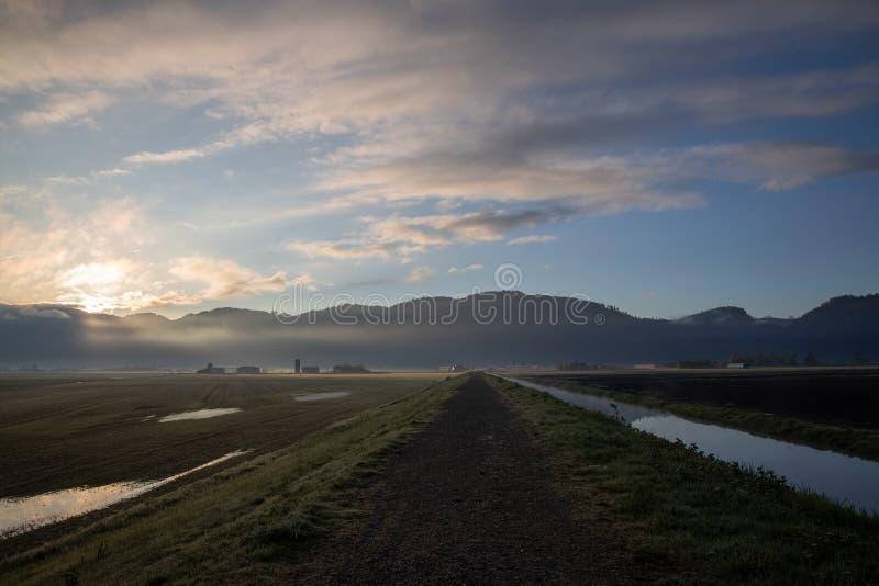 De landbouwgrond stak omhoog prachtig tijdens gouden uur, Abbotsford BC aan stock foto