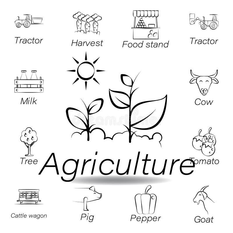 De landbouwhand trekt pictogram Element van de landbouw van illustratiepictogrammen De tekens en de symbolen kunnen voor Web, emb stock illustratie