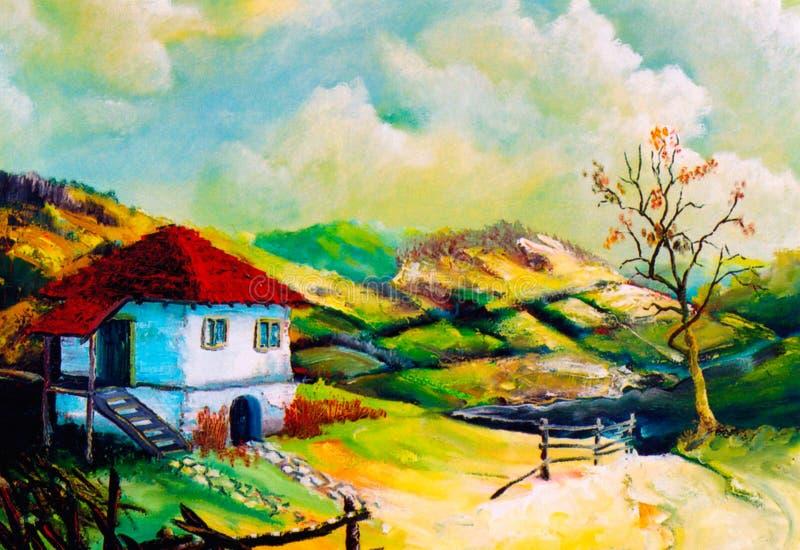 De landelijke landschappen van de verbeelding stock illustratie