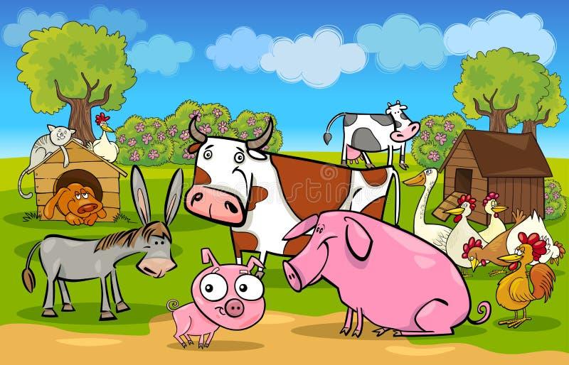 De landelijke scène van het beeldverhaal met landbouwbedrijfdieren royalty-vrije illustratie