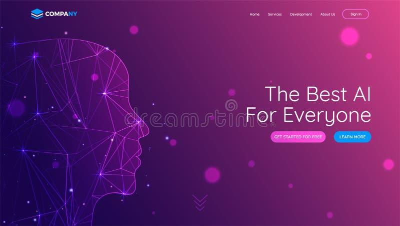 De landende pagina met menselijk die gezicht door digitaal netwerknetwerk wordt gemaakt voor is stock illustratie