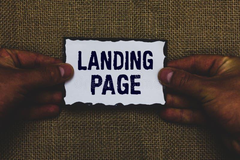 De Landende Pagina van de handschrifttekst Concept die die Website betekenen door een verbinding op een andere Web-pagina het stu stock afbeelding