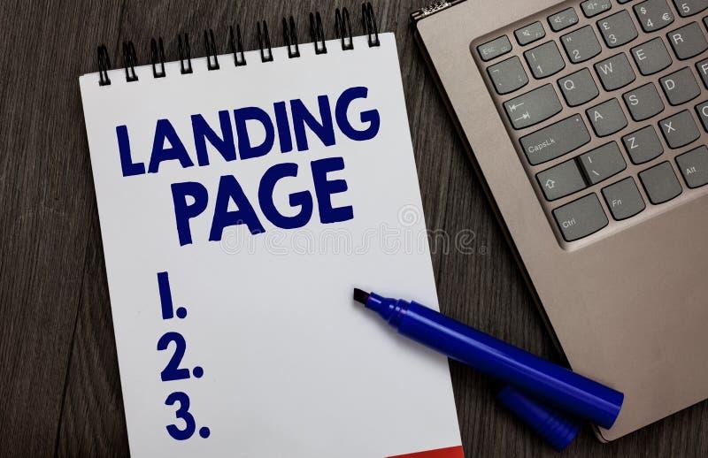 De Landende Pagina van de handschrifttekst Concept die die Website betekenen door een verbinding op een andere Web-pagina Open bl stock afbeelding