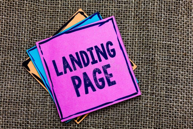 De Landende Pagina van de handschrifttekst Het concept die die Website betekenen door een verbinding op een ander Web-pagina Docu royalty-vrije stock fotografie
