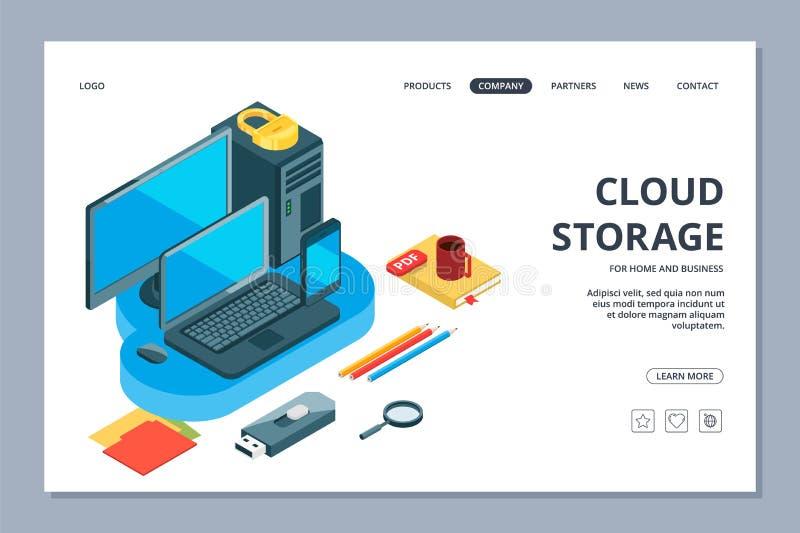 De landende pagina van de wolkenopslag Isometrische opslag van informatie en gegevens vectorwebpaginamalplaatje stock illustratie