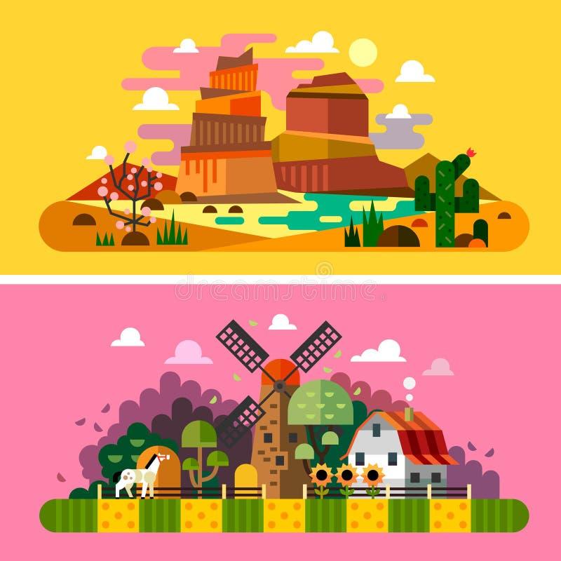 De landschappen van de dorpszonsondergang