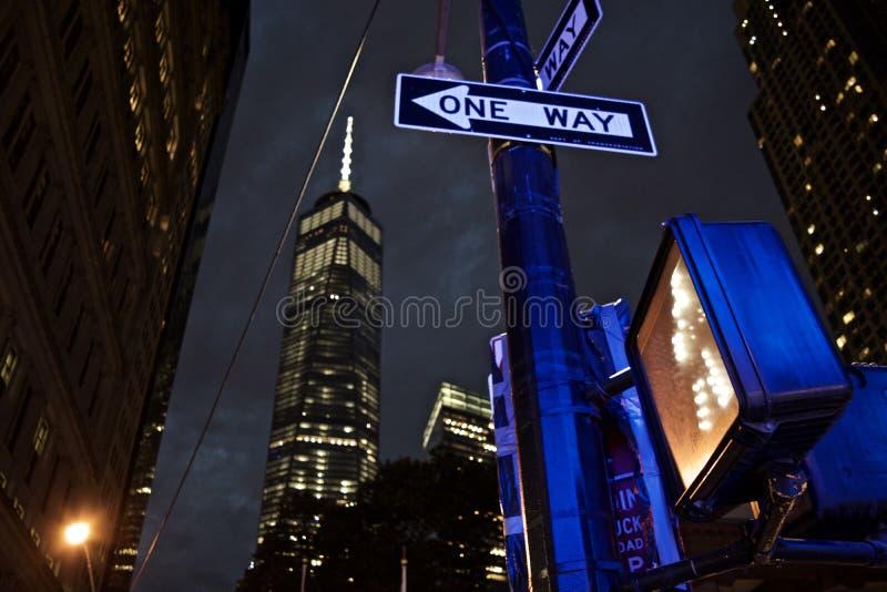 De landschappen van New York bij nacht royalty-vrije stock foto