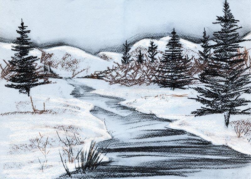De landschaps vroege lente Sparren, bergen, rivier, gebied, bos royalty-vrije illustratie