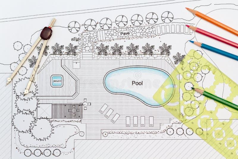 De landschapsarchitect ontwerpt binnenplaatsplan met Pool vector illustratie