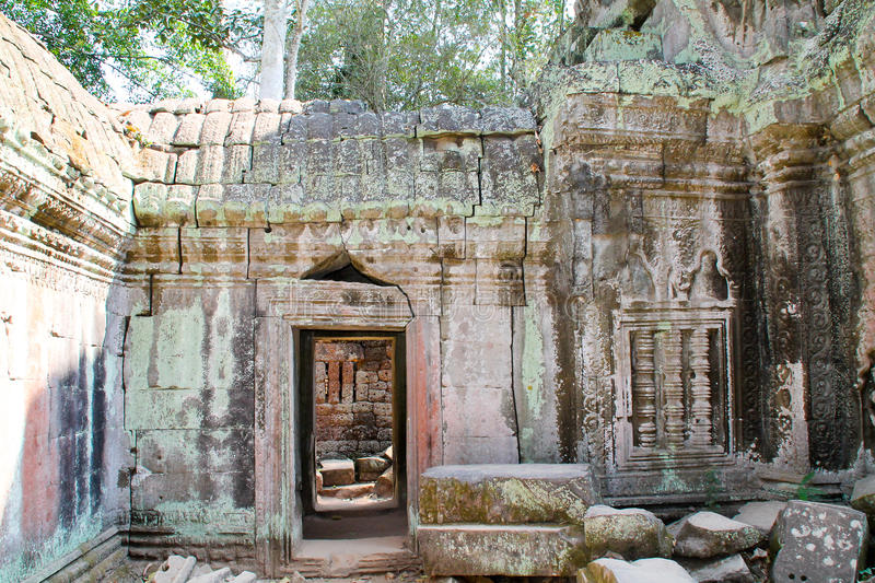 De landschapsmening van de tempels in Angkor Wat, Siem oogst, Kambodja stock fotografie