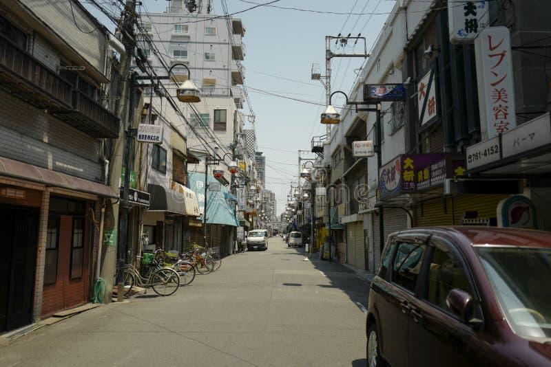 De landschapsmening van de straat Osaka is een aangewezen stad in het Kansai gebied van Japan En Osaka zal Expo 2025 ontvangen stock afbeeldingen