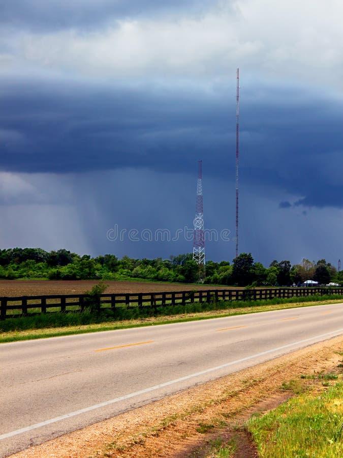 De Landweggen van Illinois van de de lenteregen royalty-vrije stock afbeeldingen