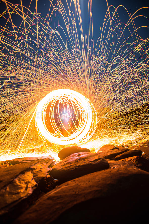 De lange blootstelling van staalwol begint van licht royalty-vrije stock foto