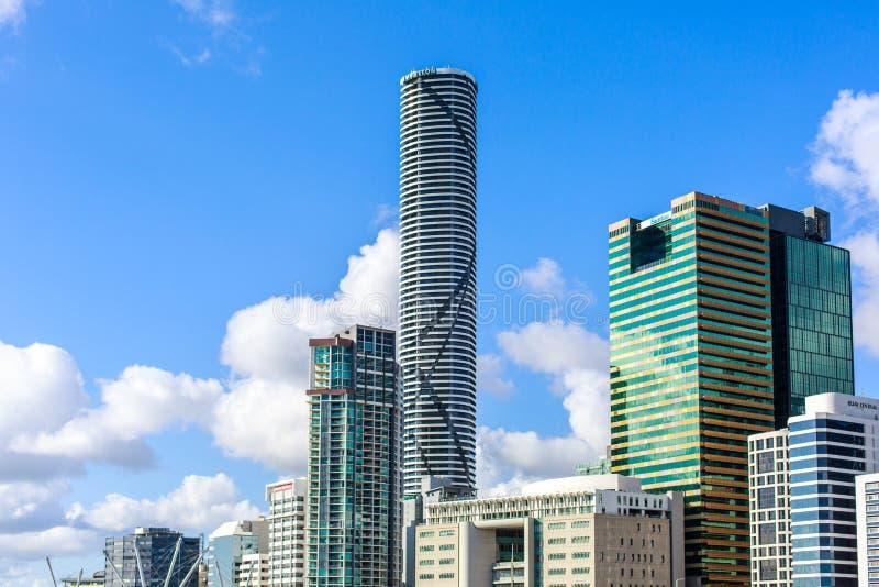 de lange bouw in waterkant Brisbane Australië royalty-vrije stock foto's