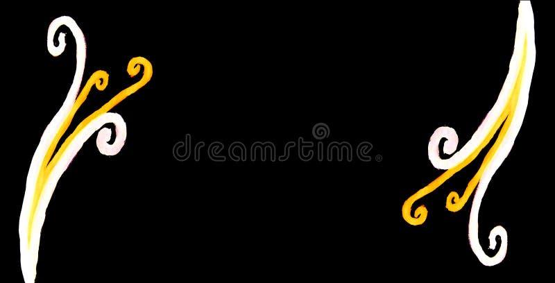 De lange horizontale zwarte verfraaide achtergrond versierde de plaatsen met curvy kalligrafische lichte elementen vector illustratie