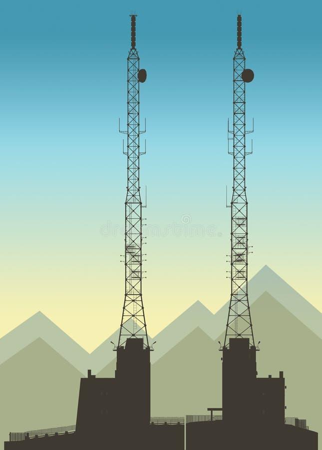 De lange illustratie van de telecommunicatietoren royalty-vrije illustratie