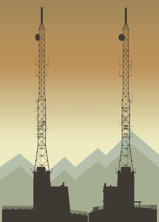 De lange illustratie van de telecommunicatietoren stock illustratie
