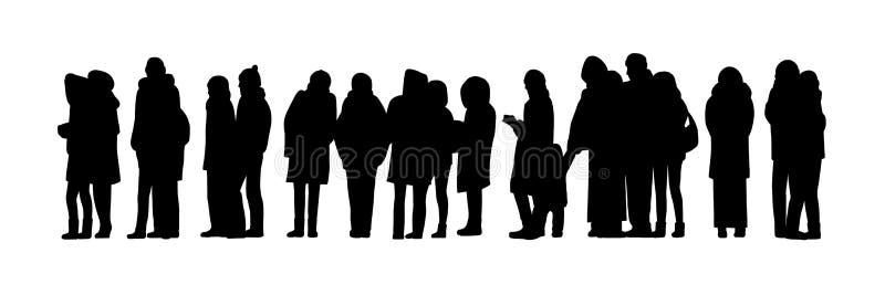 De lange mensen vormen silhouetreeks 2 een rij