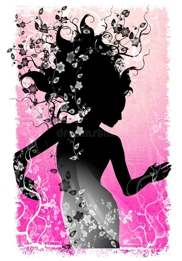 De lange Natuurlijke Wijnstokken Grunge van het Haar vector illustratie