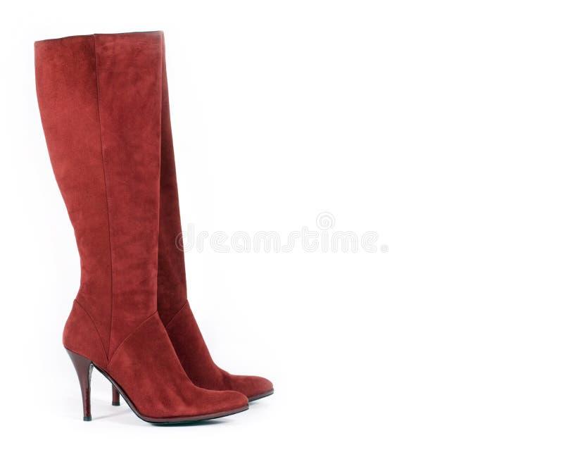 De lange Rode Laarzen van het Suède royalty-vrije stock afbeelding