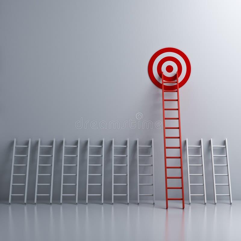De lange rode ladder aan doel richt de bedrijfsconcepten royalty-vrije illustratie