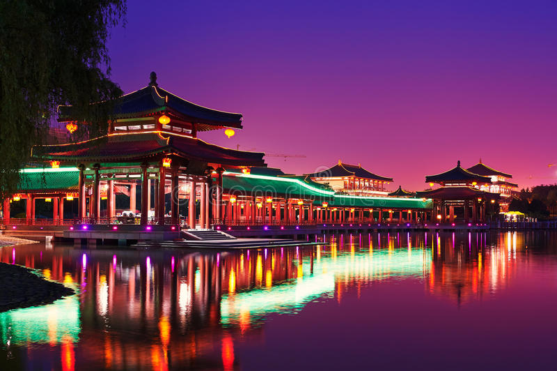 De lange xian gangnacht stock afbeeldingen