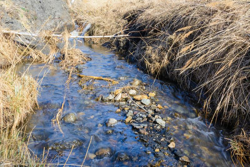 De langverwachte stroom van de lentekreken over ravijnen en heuvels op een zonnige dag Waterstroomversnelling en watervallen van  royalty-vrije stock foto